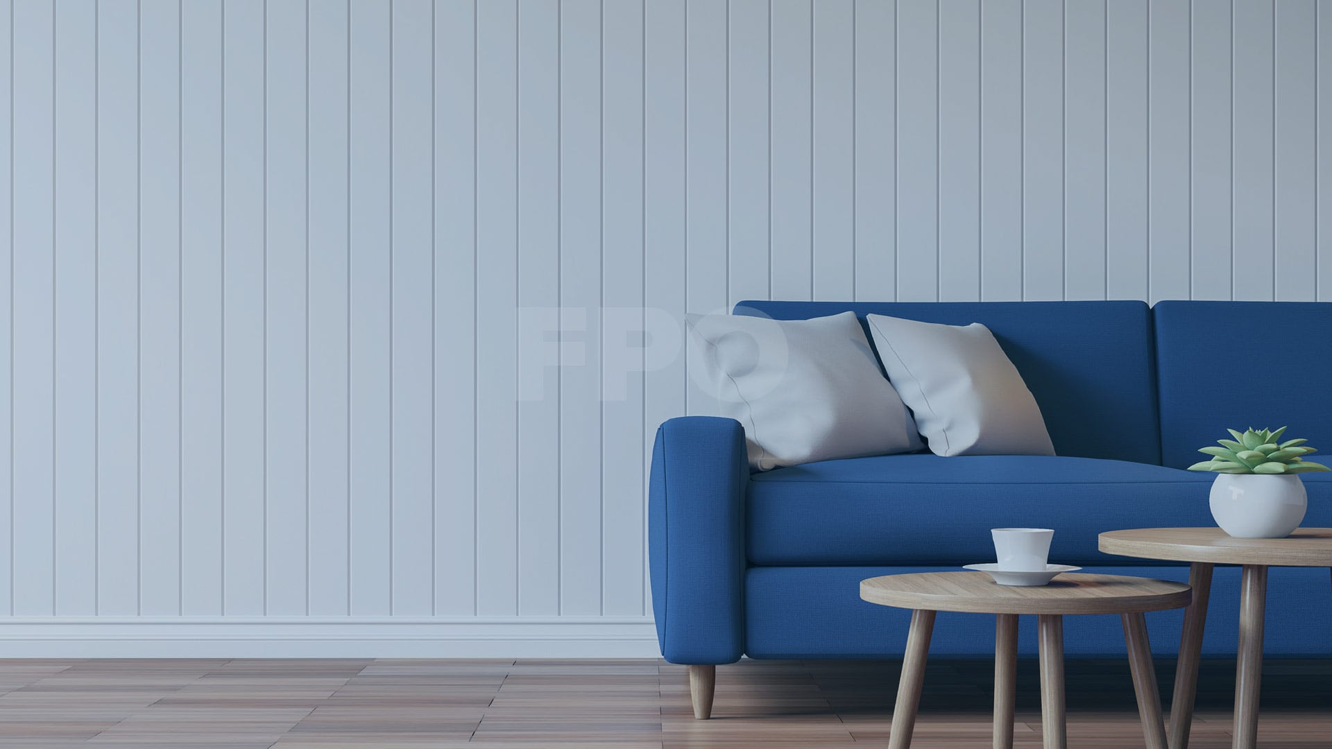 blue sofa, white wall and tables, living room