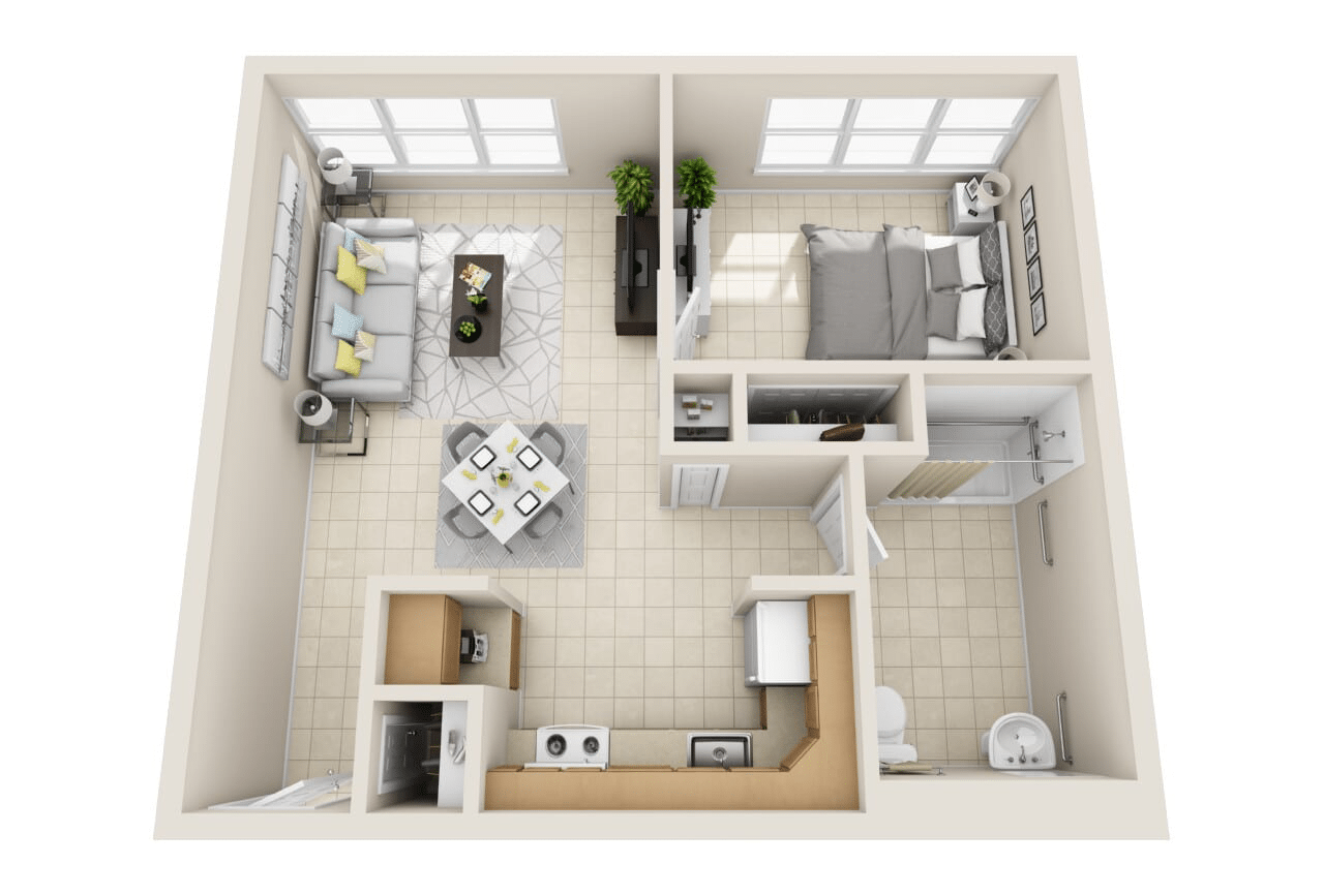 Floor Plan B: One Bedroom Layout