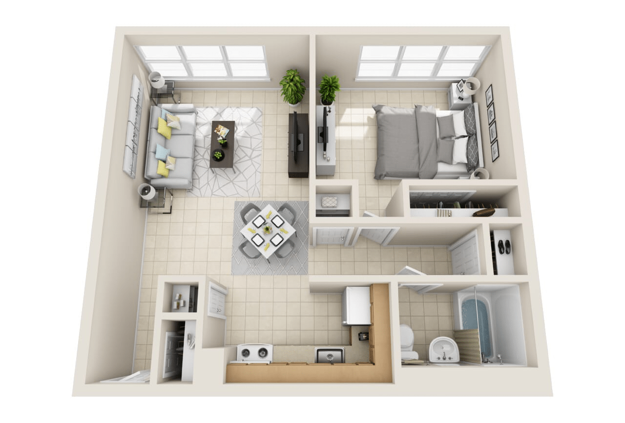 Floor Plan A: One Bedroom Layout